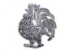 Rustic Silver Cast Iron Rooster Shaped Trivet 8