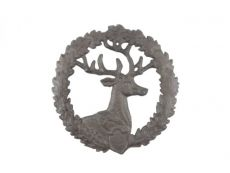 Cast Iron Deer and Wreath Kitchen Trivet 8