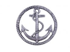 Rustic Silver Cast Iron Anchor and Rope Nautical Kitchen Trivet 7