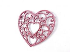 Rustic Red Whitewashed Cast Iron Decorative Heart Kitchen Trivet 8