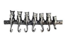 Rustic Silver Cast Iron Cat Wall Hooks 13