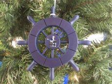 Dark Blue Decorative Ship Wheel With Seagull Christmas Tree Ornament 6