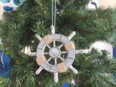 Rustic Decorative Ship Wheel With Seashell Christmas Tree Ornament  6