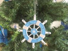 Rustic Light Blue and White Decorative Ship Wheel With Starfish Christmas Tree Ornament 6