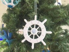 White Decorative Ship Wheel With Seashell Christmas Tree Ornament  6