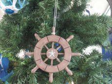 Rustic Wood Finish Decorative Ship Wheel With Starfish Christmas Tree Ornament 6