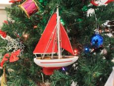 Wooden Red Sailboat Model with Red Sails Christmas Tree Ornament 9