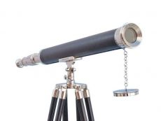 Chrome - Leather Harbor Master Telescope 60 with Black Wooden Legs