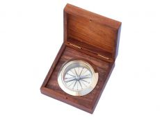 Solid Brass Captains Desk Compass w- Rosewood Box 4