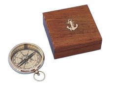 Solid Brass Beveled Lensatic Compass w- Rosewood Box 4