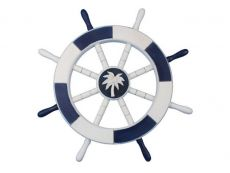Dark Blue and White Decorative Ship Wheel with Palm Tree 18