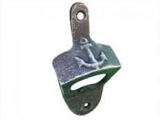 Rustic Dark Blue Cast Iron Wall Mounted Anchor Bottle Opener 3