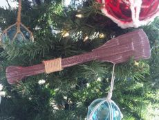Wooden Rustic Hampshire Decorative Squared Boat Oar Christmas Ornament 12