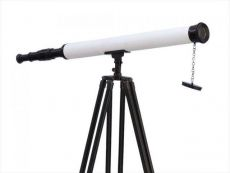 Floor Standing Oil-Rubbed Bronze-White Leather with Black Stand Harbor Master Telescope 60