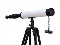 Floor Standing Oil-Rubbed Bronze-White Leather With Black Stand Harbor Master Telescope 50
