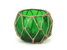 Green Japanese Glass Fishing Float Bowl with Decorative Brown Fish Netting 6\