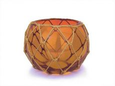 Orange Japanese Glass Fishing Float Bowl with Decorative Brown Fish Netting 8\