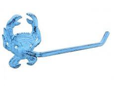 Dark Blue Whitewashed Cast Iron Crab Toilet Paper Holder 10