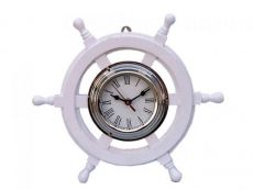 Deluxe Class White Wood and Chrome Pirate Ship Wheel Clock 12