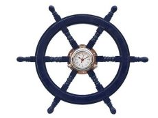 Deluxe Class Dark Blue Wood and Chrome Pirate Ship Wheel Clock 24
