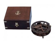 Antique Copper Round Sundial Compass with Rosewood Box 6