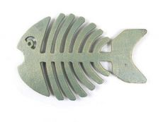 Antique Seaworn Bronze Cast Iron Fish Bone Trivet 11