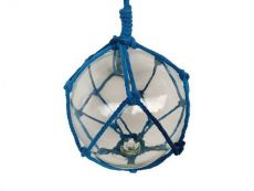 Clear Japanese Glass Ball Fishing Float with Dark Blue Netting Decoration 10\