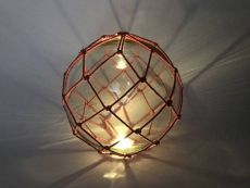 Tabletop LED Lighted Clear Japanese Glass Ball Fishing Float with Red Netting Decoration 10