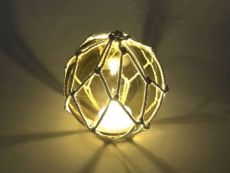 Tabletop LED Lighted Amber Japanese Glass Ball Fishing Float with White Netting Decoration 4