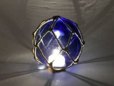 Tabletop LED Lighted Dark Blue Japanese Glass Ball Fishing Float with Brown Netting Decoration 4