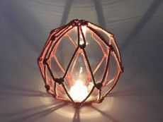 Tabletop LED Lighted Clear Japanese Glass Ball Fishing Float with Red Netting Decoration 6