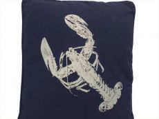 Navy Blue and White Lobster Pillow 16