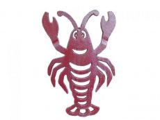 Rustic Red Whitewashed Cast Iron Lobster Trivet 11