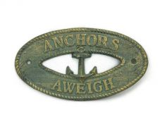 Antique Bronze Cast Iron Anchors Aweigh with Anchor Sign 8