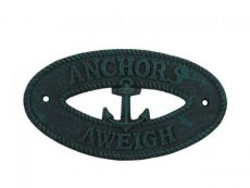 Seaworn Blue Cast Iron Anchors Aweigh with Anchor Sign 8