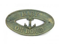 Antique Bronze Cast Iron Baby on Board with Anchor Sign 8