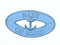 Rustic Light Blue Cast Iron Baby on Board with Anchor Sign 8
