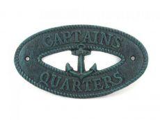Seaworn Blue Cast Iron Captains Quarters with Anchor Sign 8