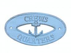 Rustic Light Blue Cast Iron Crews Quarters with Anchor Sign 8