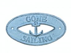 Dark Blue Whitewashed Cast Iron Gone Sailing with Anchor Sign 8