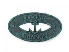 Seaworn Blue Cast Iron Loose Cannon with Anchor Sign 8