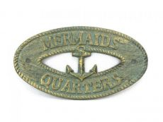 Antique Bronze Cast Iron Mermaids Quarters with Anchor Sign 8