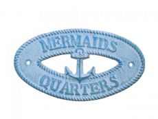 Light Blue Whitewashed Cast Iron Mermaids Quarters with Anchor Sign 8