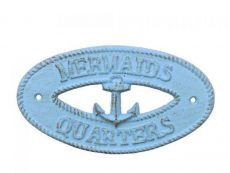Rustic Light Blue Cast Iron Mermaids Quarters with Anchor Sign 8