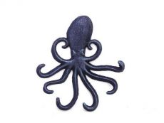 Rustic Dark Blue Cast Iron Wall Mounted Decorative Octopus Hooks 7