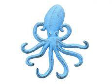 Rustic Light Blue Cast Iron Wall Mounted Decorative Octopus Hooks 7