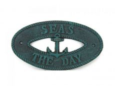 Seaworn Blue Cast Iron Seas the Day with Anchor Sign 8