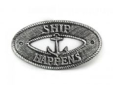 Antique Silver Cast Iron Ship Happens with Anchor Sign 8