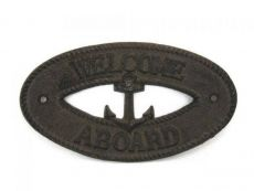 Cast Iron Welcome Aboard with Anchor Sign 8