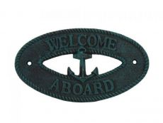 Seaworn Blue Cast Iron Welcome Aboard with Anchor Sign 8